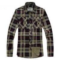 Spring Autumn Plus Size Mens Plaid Shirt Fashion Leisure Cotton Long Sleeve Shirt