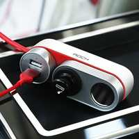 Rock 12V-24V 4.8A Car Cigarette Lighter Socket Splitter Dual USB Car Charger for Mobile Phone