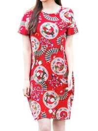 Folk Short Sleeve Print Vintage Style Women Pencil Dresses