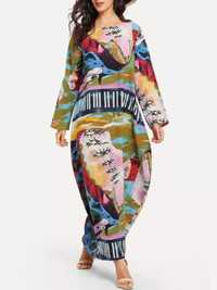 Plus Size Art Print Crew Neck Long Sleeve Baggy Maxi Dress