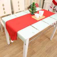 34X176CM Christmas Table Runner Mat Tablecloth Christmas Flag Home Party Decor Red Table Runners
