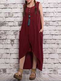 Sleeveless Fake Two-piece Asymmetric Dress
