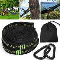 2Pcs 11.8 Inch Hammock Strap Adjustable Suspension Tree Hanging With Aluminum Hook