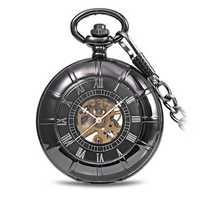 JIJIA JX017 Self-wind Mechanical Chain Black Alloy Case Pocket Watch
