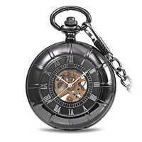 JIJIA JX017 Self-wind Mechanical Chain Black Alloy Case Pocket Watch