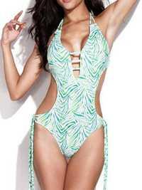 Sexy Green Zebra Print Monokini Swimwear Backless Fringe One Piece Swimsuit