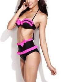 Black High Waist Swimwear Neon Rose Ruffles and Bows Bikini Set