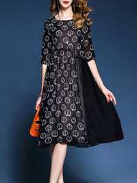 Casual Women Floral Printed Patchwork O-Neck Black Dress