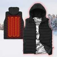 Outdoor Sports Heating Sleeveless Vest Unisex 3 Modes Warm Waistcoat Full Zipper Windproof Jacket Tank Tops