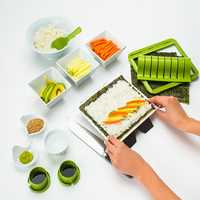 Super Easy Sushi Making Kit DIY Sushi Maker Tools Machine Set Rice Roller Mold Roller Cutter Kitchen Sushi Making Tools