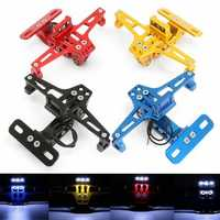 Universal CNC Moroecycle Alloy License Number Plate Holder Bracket LED Lights