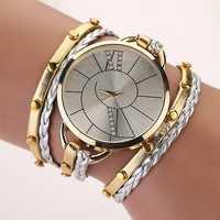 Fashion Big Dial Women Ladies Bracelet Watch With Weaving Hand Rope Watch Starp