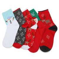 Women Ladies Christmas Santa Clause Reindeer Pattern Long Socks Stocking