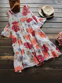 Women Off Shoulder Loose Pleated Floral Mini Dress