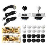Black White Push Button Dual Joystick USB Encoder Board DIY Set Kit for Arcade PC Game Controller