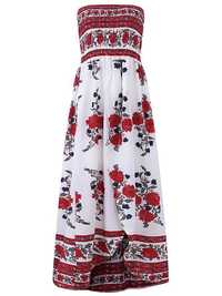 Women Sexy Off the Shoulder Dresses Printing Mid Calf Summer Dress