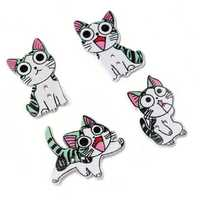 50PCS 21-26MM DIY Animal Wood Buttons Painted Cute Cat Hand-sewing Decorative Other Crafts Accessori