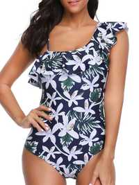 One Shoulder One-Piece Printed Swimwear