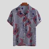 Mens Fashion Square Printing Casual Shirts