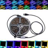 0.5/1/2/3/4/5M Non-Waterproof USB RGB SMD5050 LED Strip Light TV Background Lighting Lamp Kit DC5V