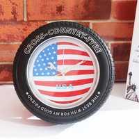 Vintage National Flag Tire Wall Clock Desk American Union Jack Clock Creative Alarm Clock Home Decor