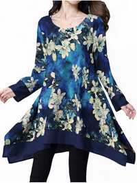 Vintage Printing Long Sleeve Irregular Hem Loose Dress