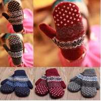 Women Girl Cute Crochet Knitting Wool Blend Full Finger Cotton Snowflake Gloves Thick Mittens