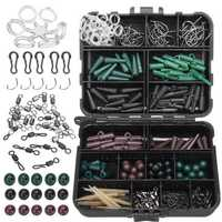 ZANLURE 174Pcs Assorted Carp Fishing Tackle Accessory Kits Hooks Sinker Combo Rigs Box