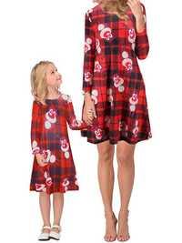 Christmas Women Printed Long Sleeve Parent-child Dress