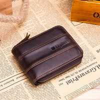 Ekphero Men RFID Antimagnetic Vintage Genuine Leather Wallet