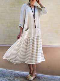Women Stripe Patchwork Loose Casual Maxi Dress