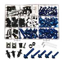 CNC Alloy Motorcycle Complete Fairing Bolt Bodywork Screws Nuts Kit For Kawasaki Blue