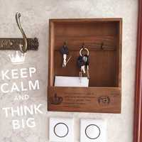Creative Key Wood Box Sundries Retro Hook Hanger Storage Wooden Wall Holder Home Decor