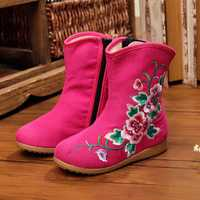 Girls Flower Embroidery Breathable Zipper Round Toe Ankle Short Boots