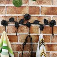 5 Hooks Wall Hanger Bathroom Flowers Leaves Metal Door Hook Clothes Towel Rack