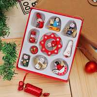 9pcs Traditional Wooden Doll Toy Christmas Tree Decorations Hanging Ornaments Set