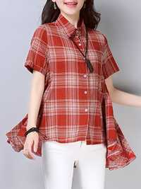 Women Casual Plaid Button Short Sleeve High Low Hem Blouse