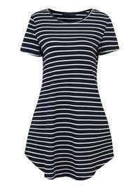 Fashion Women Stripe Short Sleeve T-shirt Dress