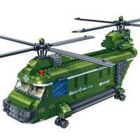 BanBao Blocks Toys Dual Rotors Transport Helicopter Military Army Bricks Educational Building Model