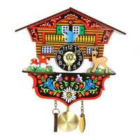 KB-002 Wooden Cuckoo Clock 3D Swing Clock Cartoon Wall Clock Bird Time Bell Alarm Watch
