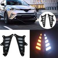 Pair Dual-color LED Front Car Fog Lights Lamp DRL Daytime Running Lights for Toyota C-HR 2017