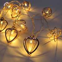 KCASA 1M 10 LED Metal Heart String Lights LED Fairy Lights for Festival Christmas Halloween Party Wedding Decoration Battery Powered
