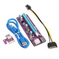 0.6M USB 3.0 PCI-E Express 1x to 16x Extender Riser Card Adapter SATA Power Cable