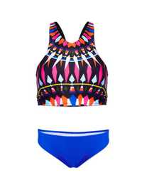 High Neck Geometric Printed Women Tankinis Swimwear