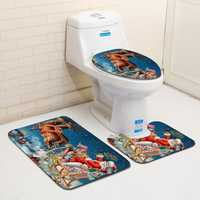 Washable Bathroom Toilet Seat Covers Bathroom Carpet Anti Slip Bathroom Mat Set Bath Floor Mats
