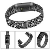 Bakeey Diamonds Elegant Design Watch Band Full Steel Watch Strap for Fitbit Charge 3