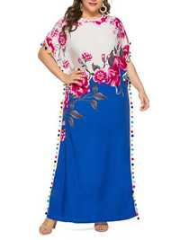 Plus Size Boho Floral Two-tone Batwing Sleeve Maxi Dress