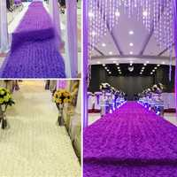 140*190CM 3D Rose Flower Satin Wedding Aisle Runner Carpet Curtain Backdrop Party Decoration
