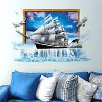 Miico Creative 3D Sea Sailboat Waterfall Frame PVC Removable Home Room Decorative Wall Door Decor Sticker