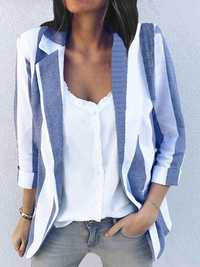 Women Long Sleeve Stripe Office Outerwear Blazers